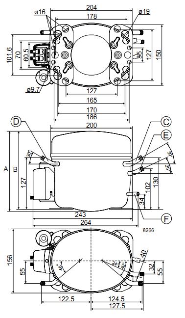 Габаритный чертёж спирального компрессора FR8.5G