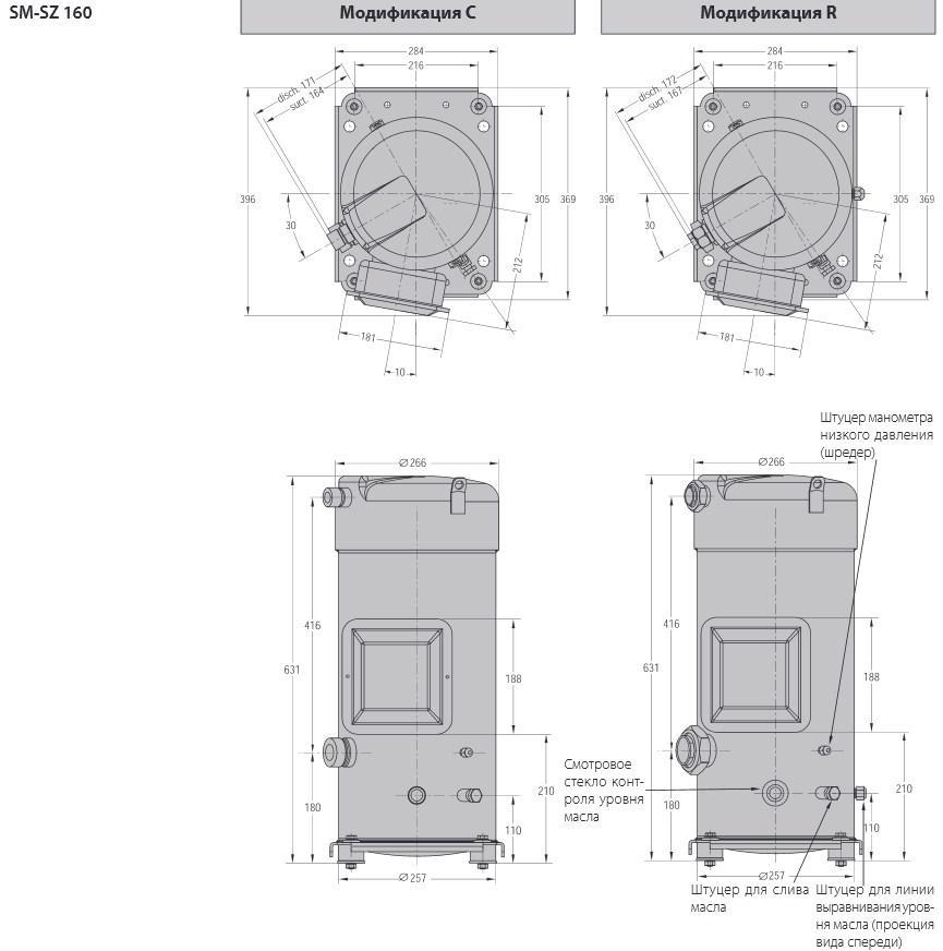 Габаритный чертеж Performer SM/SZ 160
