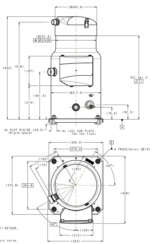 Габаритный чертеж Performer SH 180/240