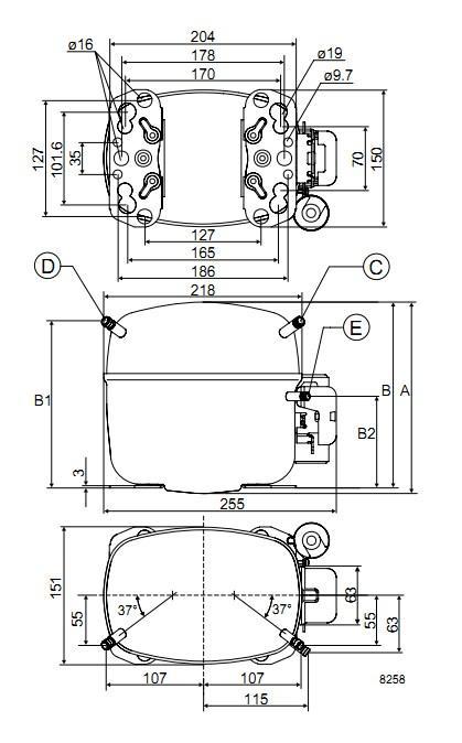 Габаритный чертеж компрессора SC10C