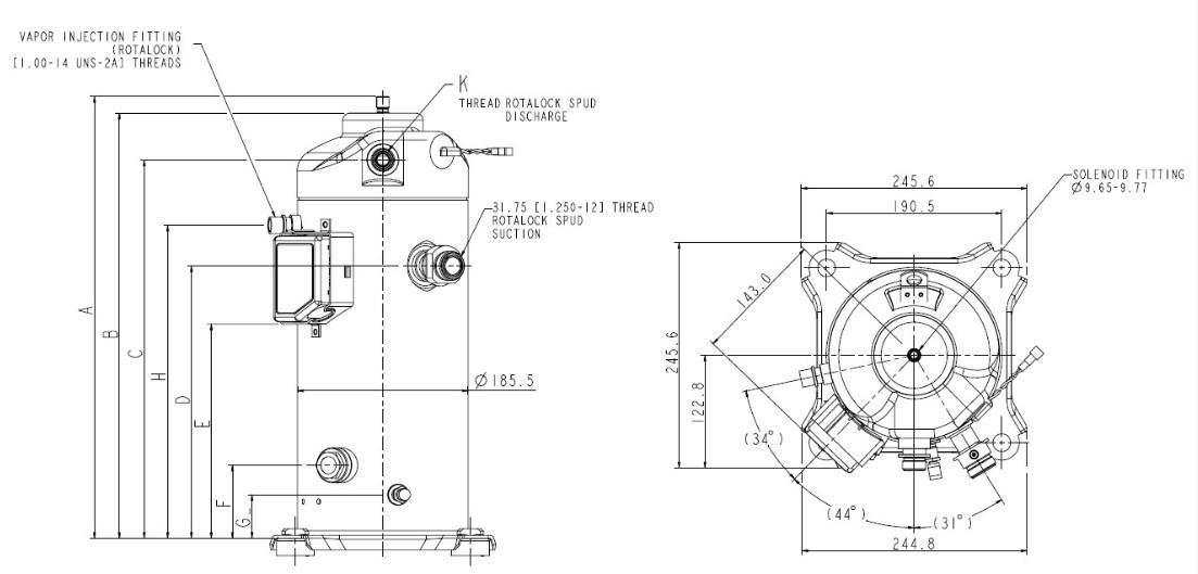Габаритный чертеж спирального компрессора Copeland ZBD57