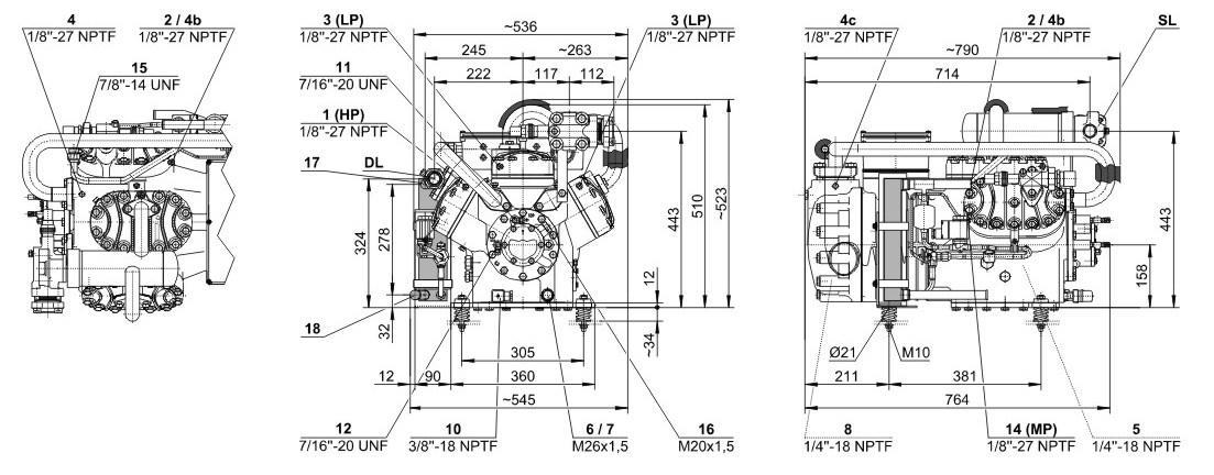 Габаритные и присоединительные размеры компрессоров Bitzer S6F-30.2Y, S6G-25.2Y