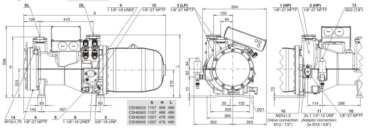 Габаритные и присоединительные размеры Bitzer CSH6553-35, CSH6553-50, CSH6563-40, CSH6563-60