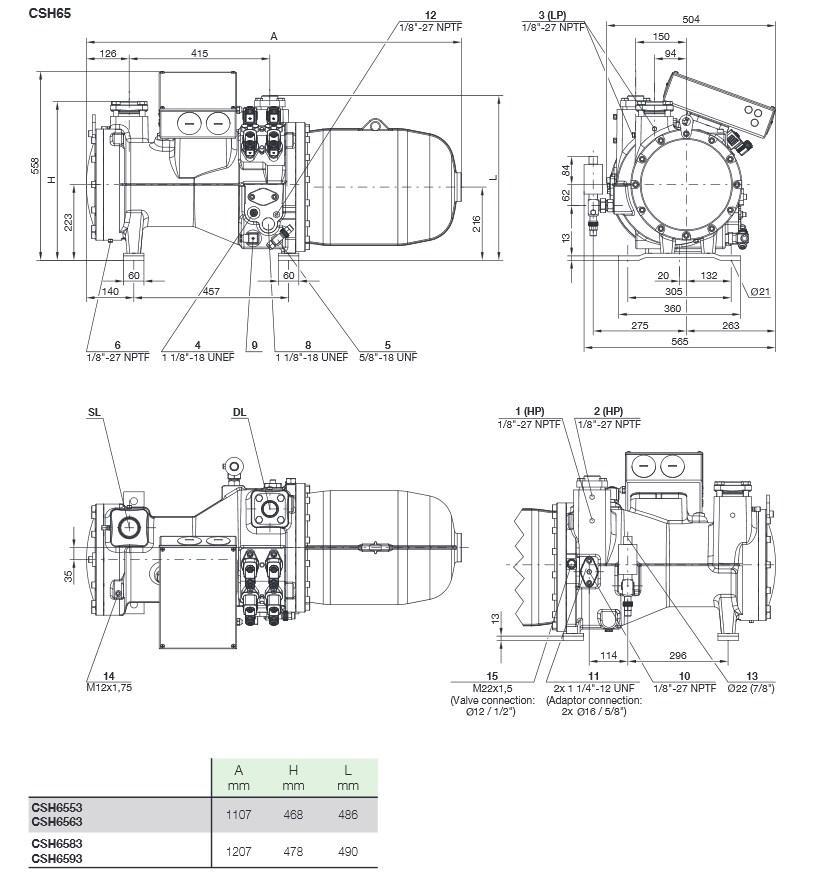 Габаритные и присоединительные размеры Bitzer CSH65
