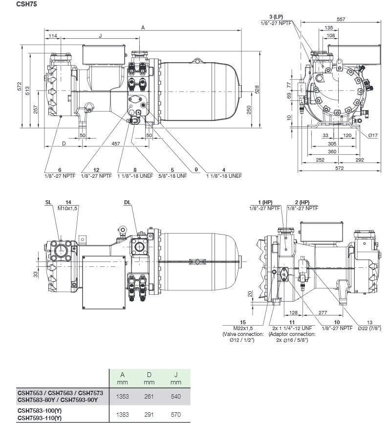 Габаритные и присоединительные размеры компрессоров Bitzer серии CSH75