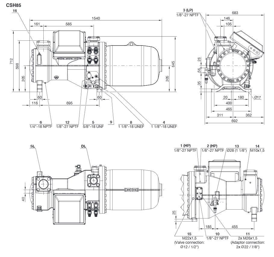 Габаритные и присоединительные размеры компрессоров Bitzer серии CSH85
