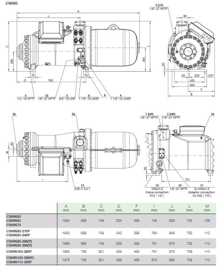 Габаритные и присоединительные размеры компрессоров Bitzer серии CSH95
