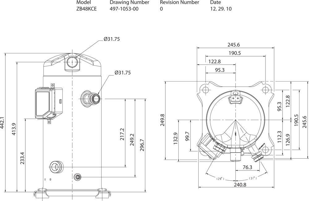 Габаритный чертёж спирального компрессора Copeland ZB48KCE