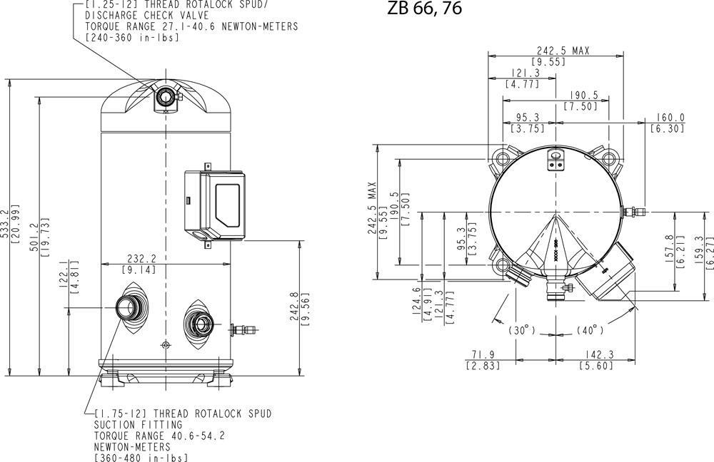 Габаритный чертёж спирального компрессора Copeland ZB66KCE, ZB76KCE
