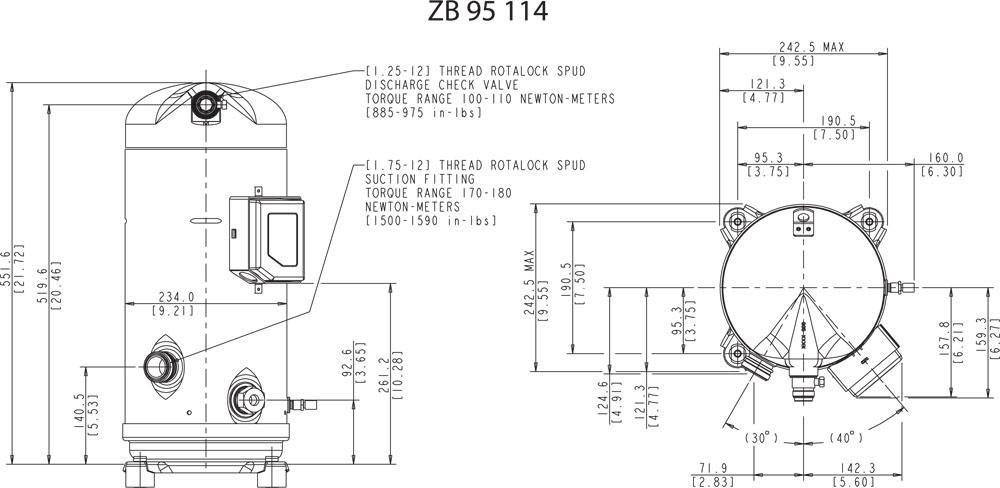 Габаритный чертёж спирального компрессора Copeland ZB95KCE, ZB114KCE