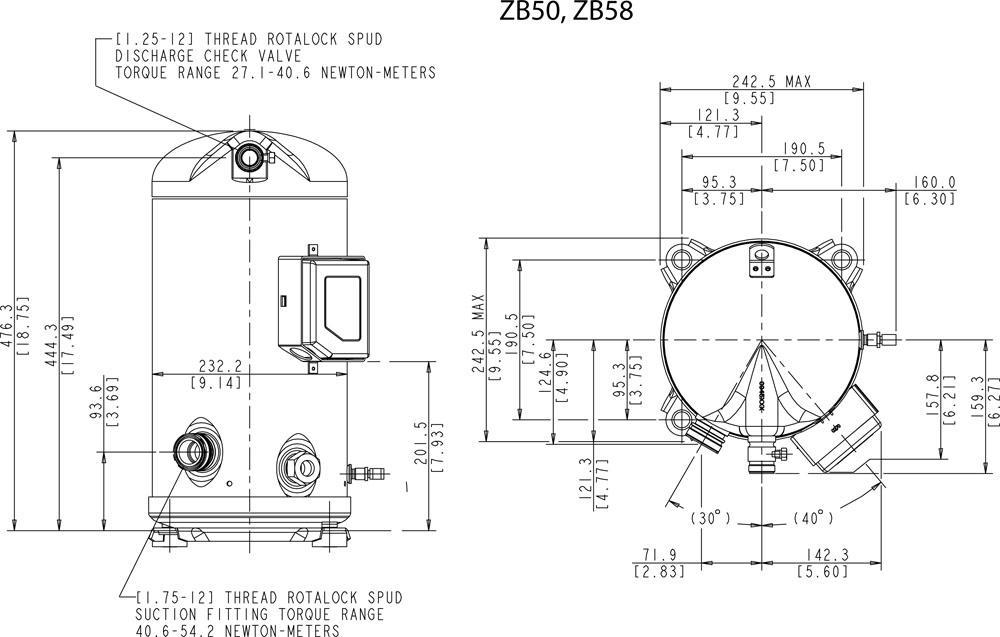 Габаритный чертёж спирального компрессора Copeland ZB50-58