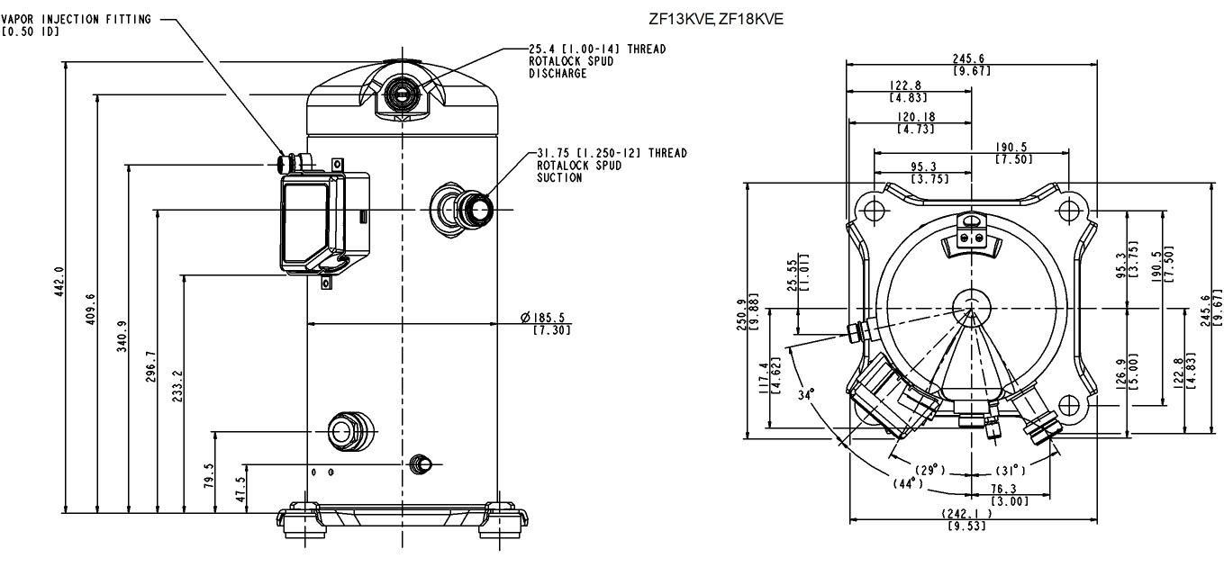 Габаритный чертёж спиральных компрессоров Copeland ZF13KVE, ZF18KVE TFD EVI