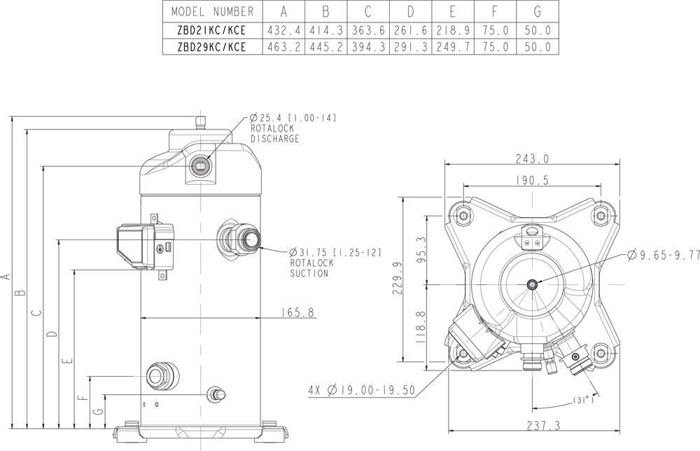 Габаритный чертеж спиральных компрессоров Copeland ZBD21, 29KCE