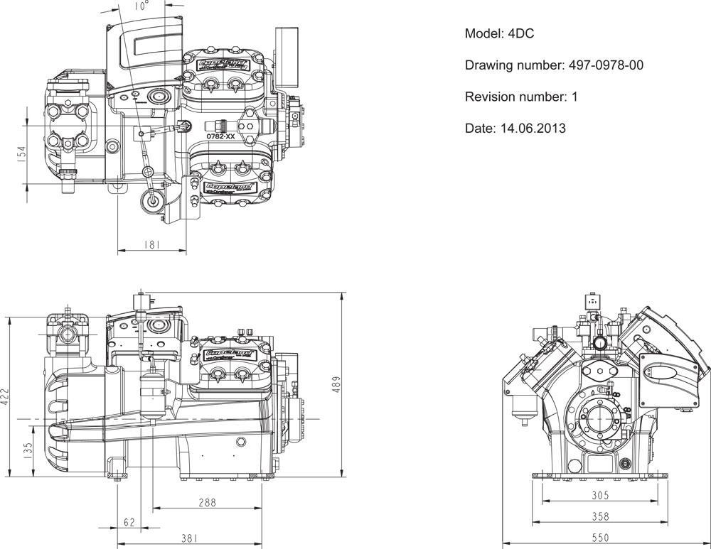 Габаритный чертеж компрессора Copeland 4MU-25X DC