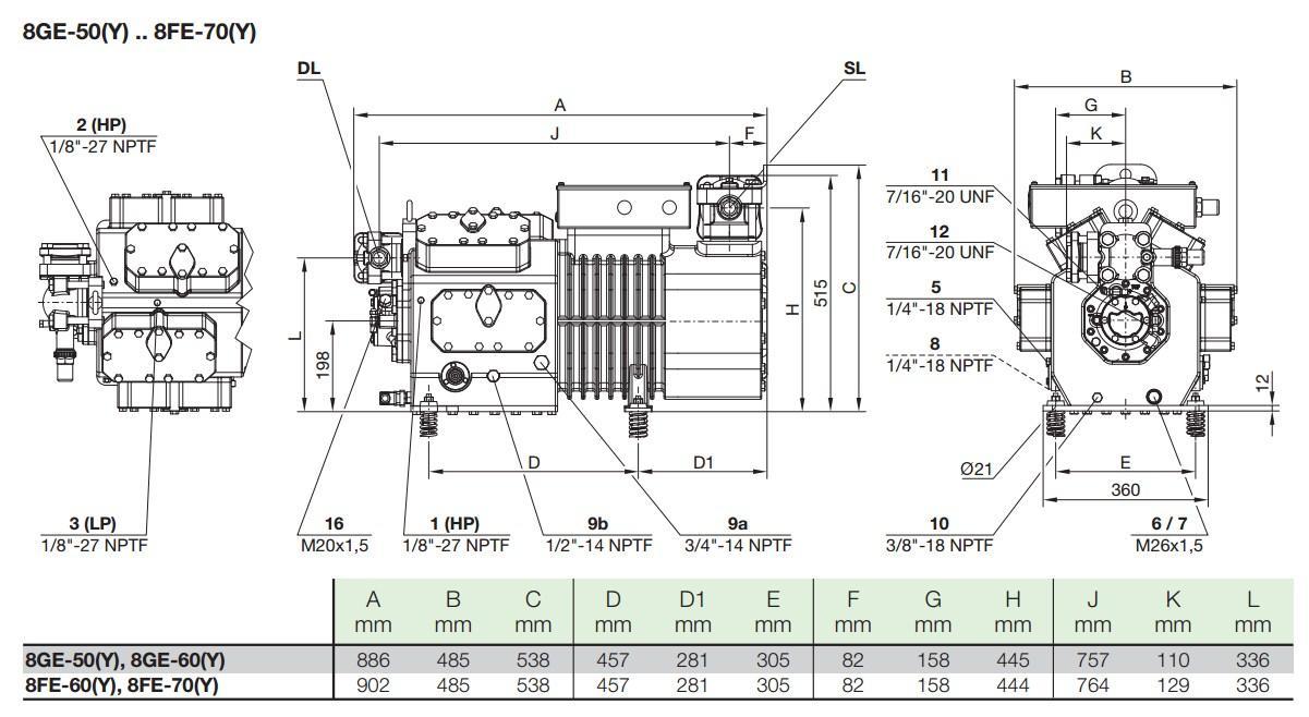 Габаритные и присоединительные размеры компрессоров Bitzer серии 8GE-50Y, 8GE-60Y , 8FE-60Y, 8FE-70Y