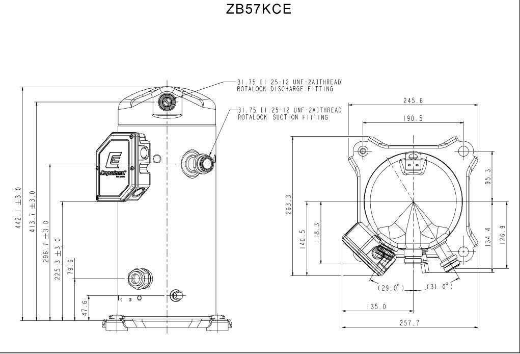 Габаритный чертёж спирального компрессора Copeland ZB57 KCE