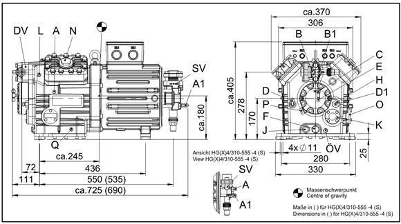 Габаритный чертеж компрессоров Bock HGX4