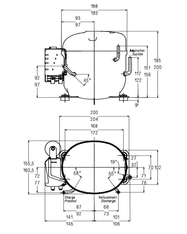 Схема установки, чертеж и габаритные размеры компрессора AE4430