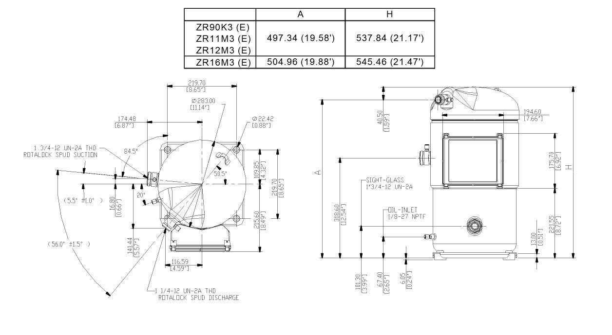 Габаритный чертеж спирального компрессора Copeland ZR-16M3E