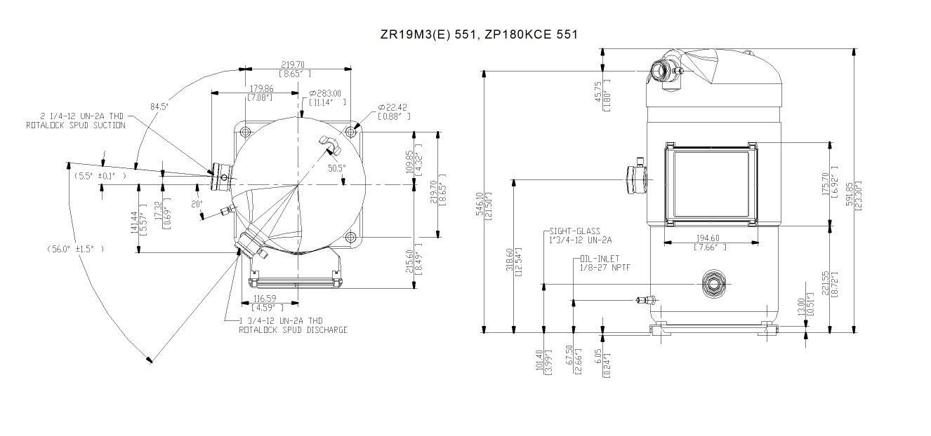 Габаритный чертеж спирального компрессора Copeland ZR-19M3E