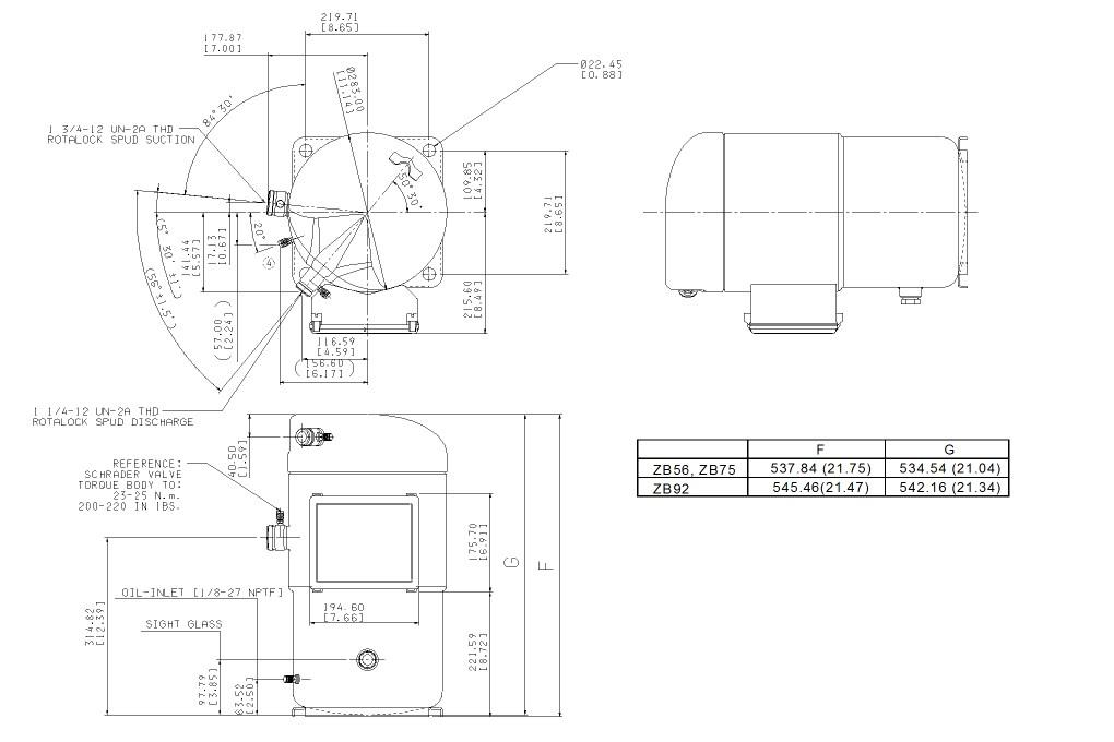 Габаритный чертёж спирального компрессора Copeland ZB56 KCE