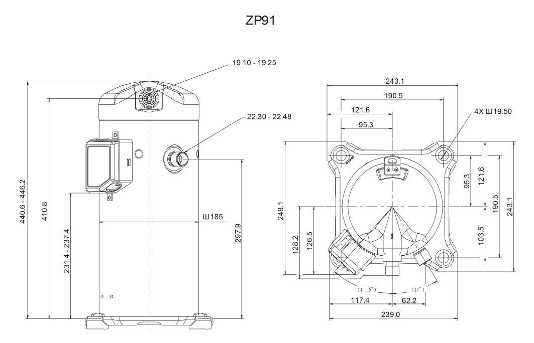 Габаритный чертеж компрессора Copeland ZP 91