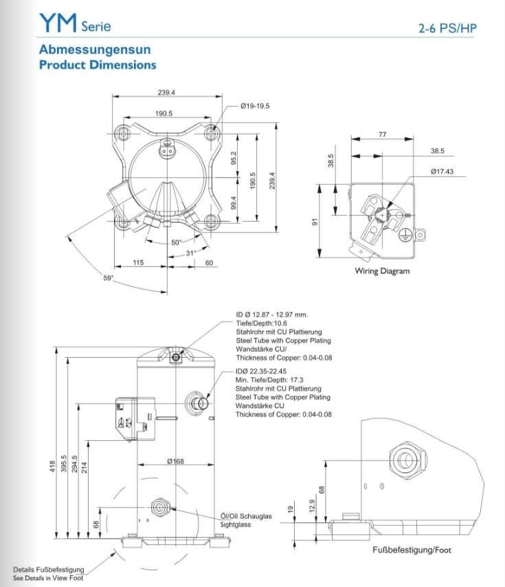 Габаритный чертёж спирального компрессора Invotech модели серрии от YM34  до YM102