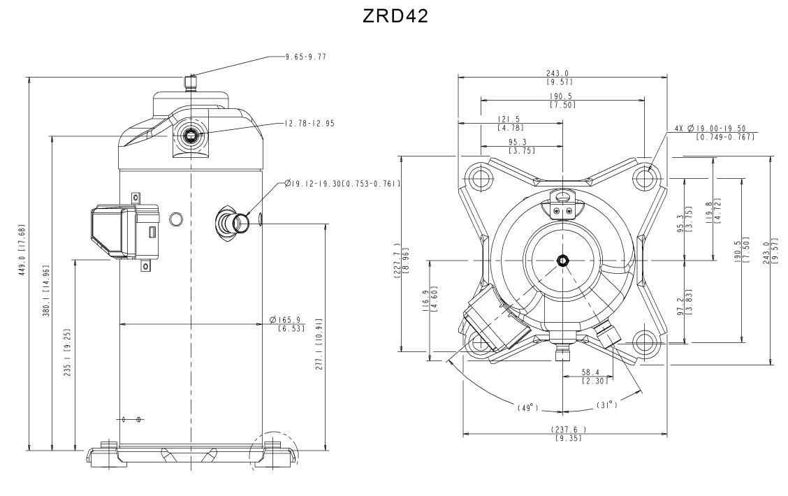 Габаритный чертеж спирального компрессора Copeland ZRD-42