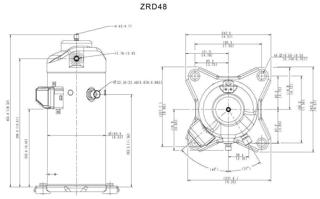 Габаритный чертеж спирального компрессора Copeland ZRD-48