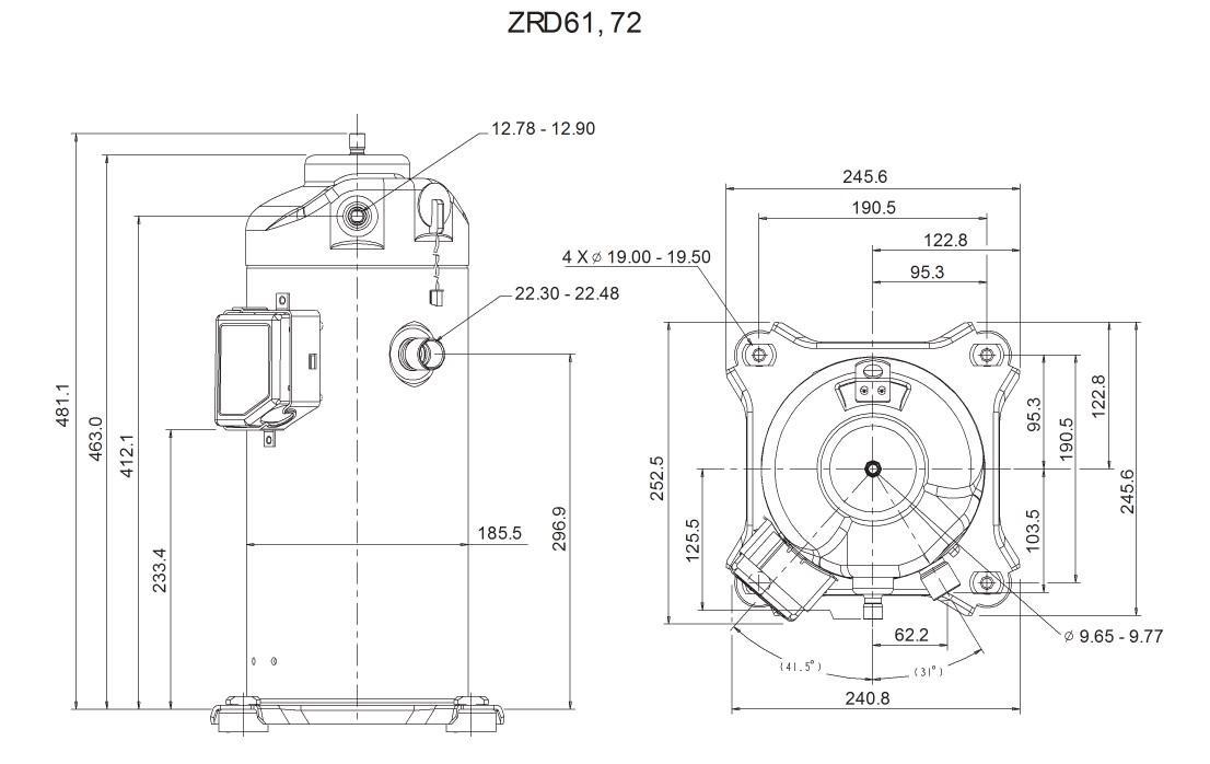 абаритный чертеж спирального компрессора Copeland ZRD-61