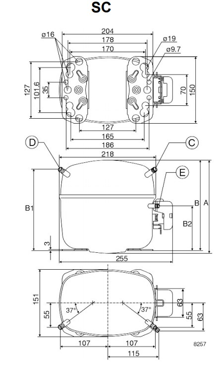 Габаритный чертёж спирального компрессора SC10D