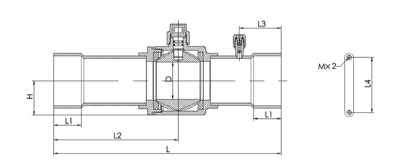 Габаритный чертеж шарового вентиля SBV Sunhua