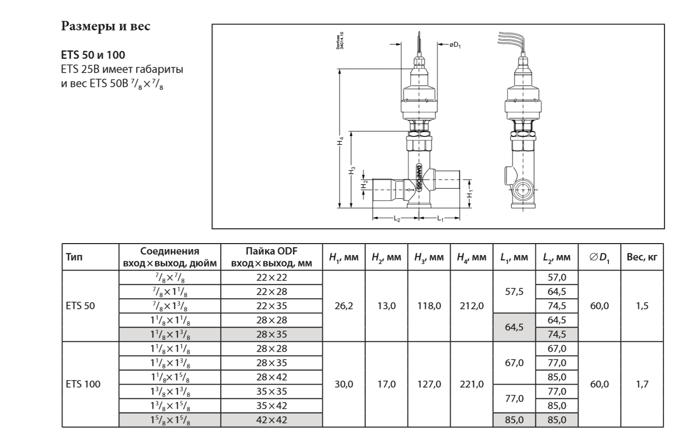 Габаритный чертеж терморегулирующего клапана ETS Danfoss