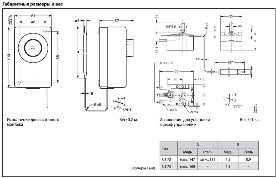 Габаритный чертеж термостата UT 72 Danfoss