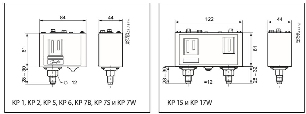 Габаритный чертеж регулятора давления KP Danfoss