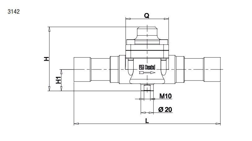 Габаритный чертеж и размеры обратного клапана Castel серии 3142