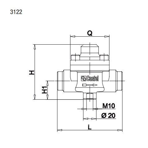 Габаритный чертеж и размеры обратного клапана Castel серии 3122