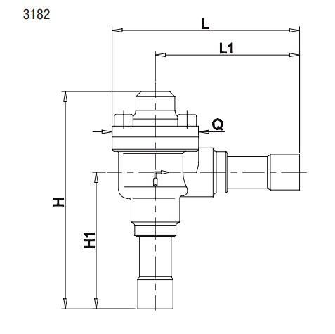 Габаритный чертеж и размеры обратного клапана Castel серии 3182