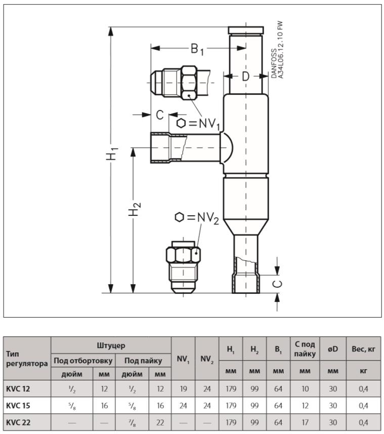 Габаритный чертеж регулятора давления KVC Danfoss