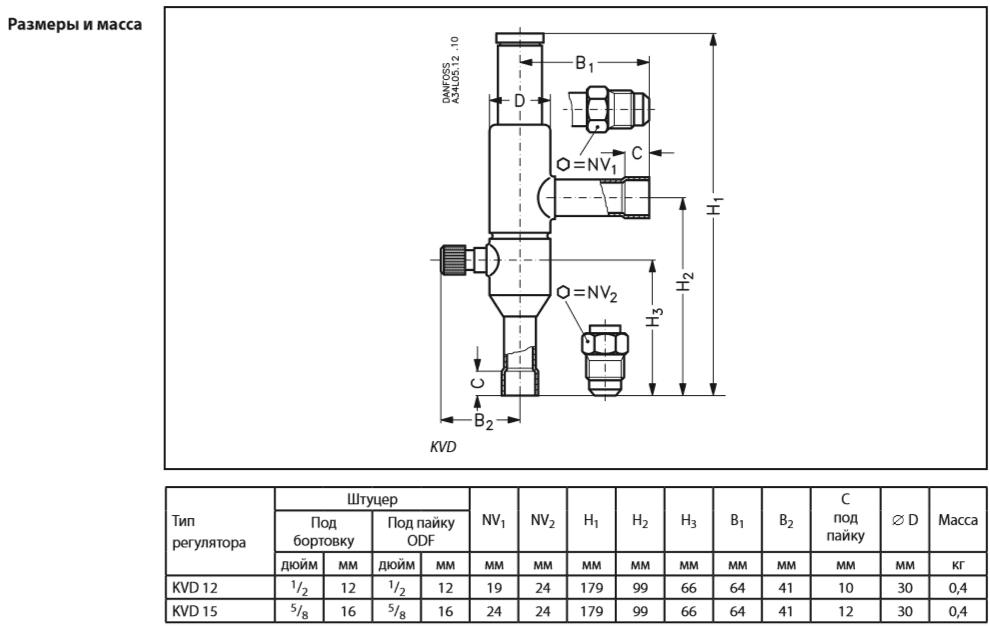 Габаритный чертеж регулятора давления в ресивере KVD Danfoss