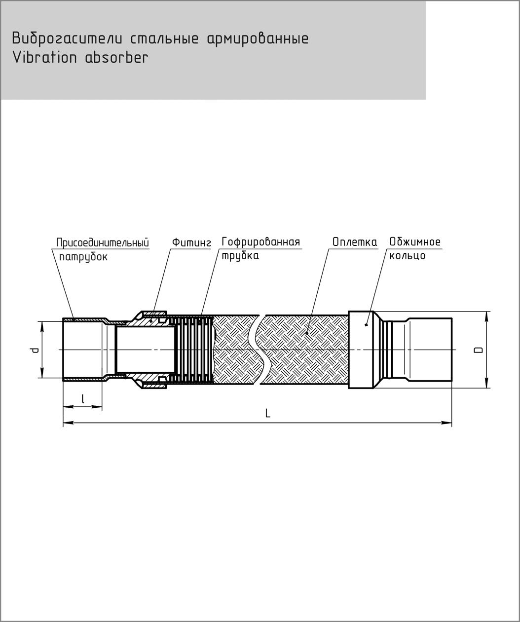 Габаритный чертеж виброгасителя Frigopoint