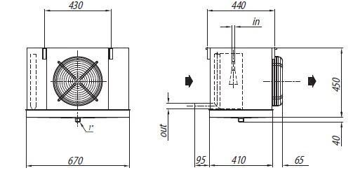 Габаритные размеры и чертеж воздухоохладителей Crocco серии NHB 19 и NHB 26