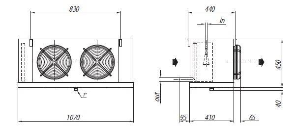 Габаритные размеры и чертеж воздухоохладителей Crocco серии NHB 38 и NHB 52