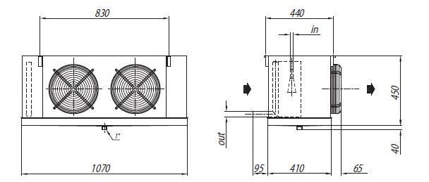 Габаритные размеры и чертеж воздухоохладителей Crocco серии NLB 30 и NLB 41