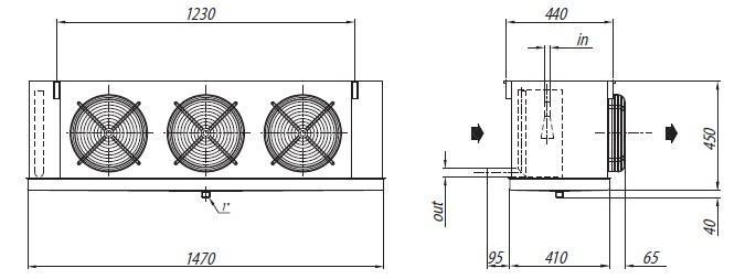 Габаритные размеры и чертеж воздухоохладителей Crocco серии NLB 62