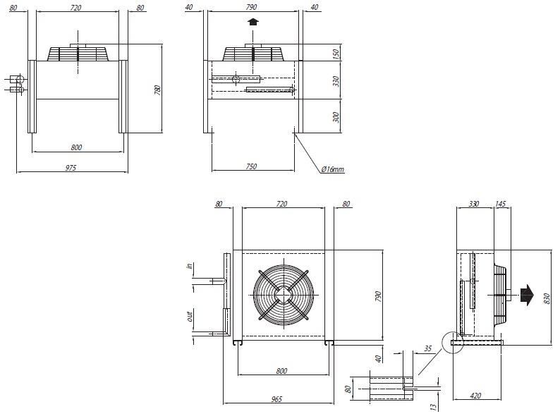 Чертеж и габаритные размеры конденсаторов Crocco CN 13, 14, 15 и CL 30, 31, 32