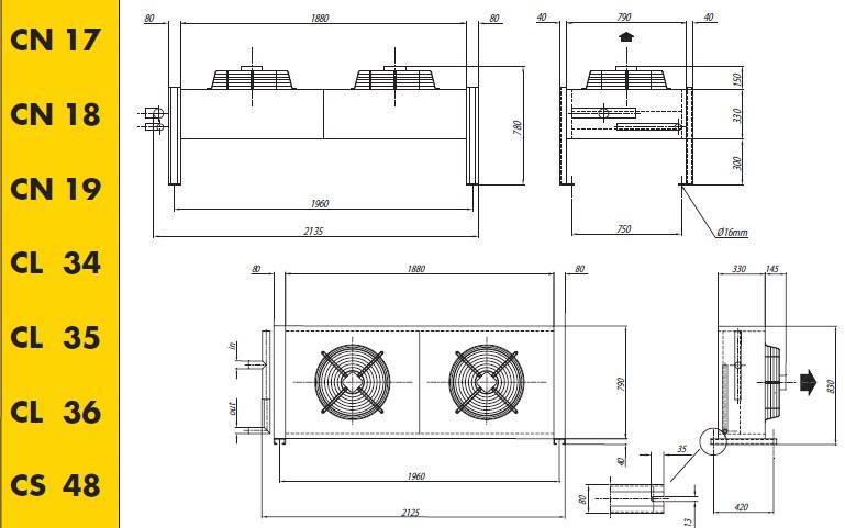 Чертеж и габаритные размеры конденсаторов Crocco CN 17, 18, 19, CL 34, 35, 36, CS 48