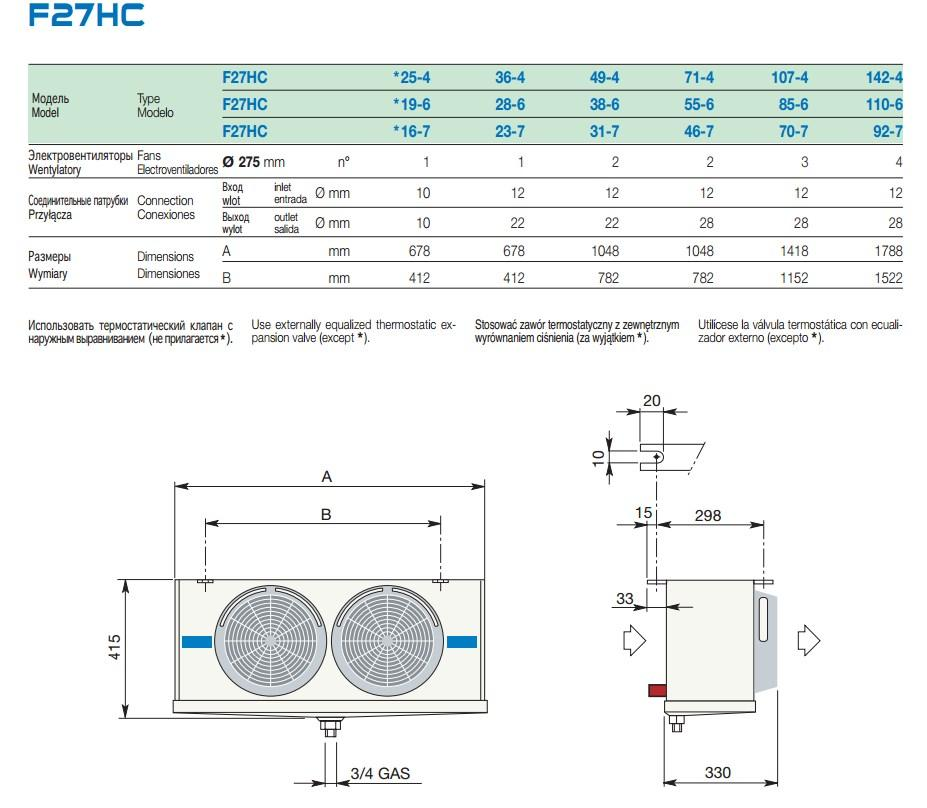 Габаритные и присоединительные размеры воздухоохладителей LU-VE серии F27HC