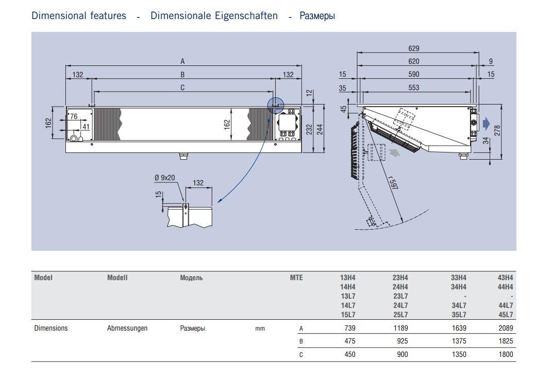 Чертеж и габаритные размеры воздухоохладителей ECO Luvata серии MTE