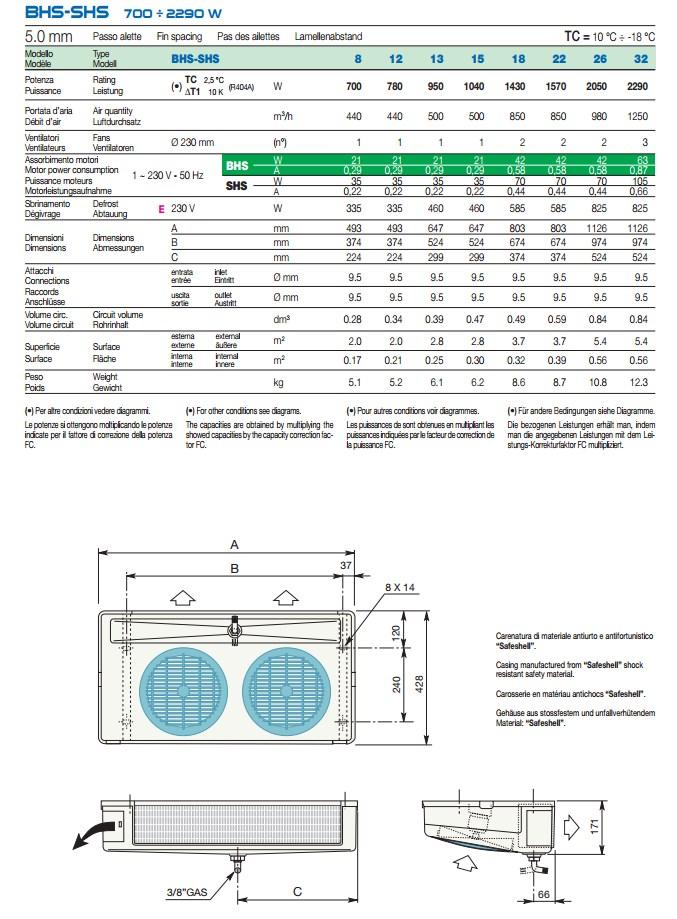 Чертеж и габаритные размеры воздухоохладителей LU-VE серии SHS